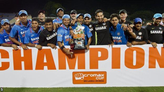 India celebrate with the Twenty20 trophy