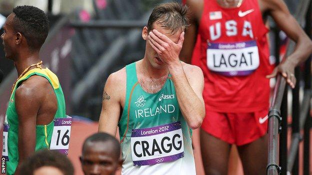 Alistair Cragg shows his disappointment after his 5000m heat in London