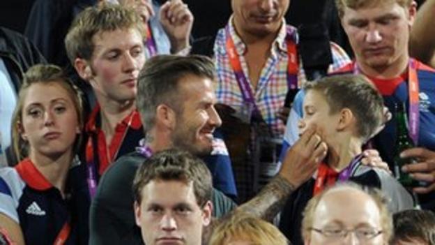 (Left to right) Laura Trott, Jason Kenny, David Beckham and Romeo Beckham