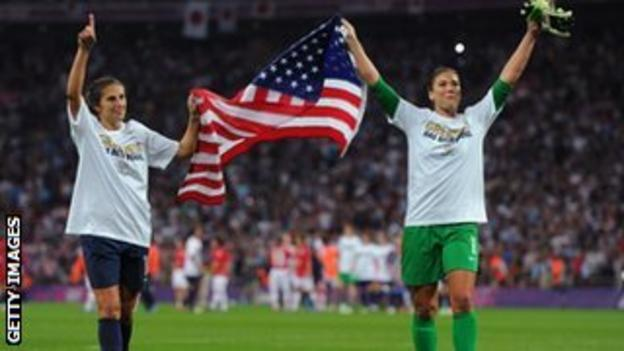 Hope Solo (left) and Carli Lloyd (right) celebrate US success on the football field