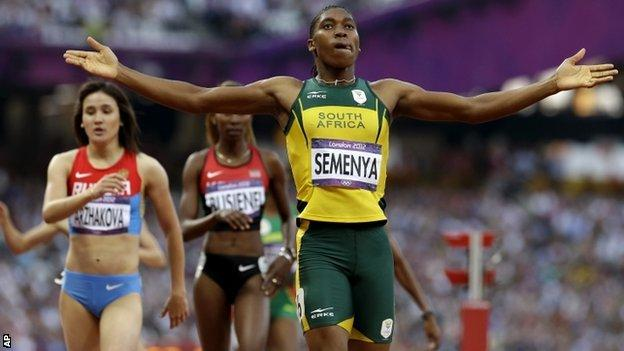 South Africa's Caster Semenya competes in the women's 800m semi-finals