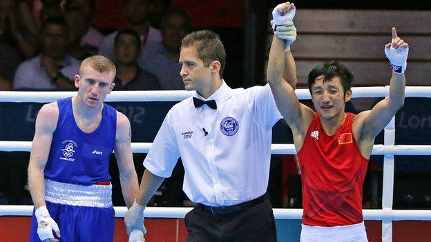 Paddy Barnes looks stunned after his semi-final defeat