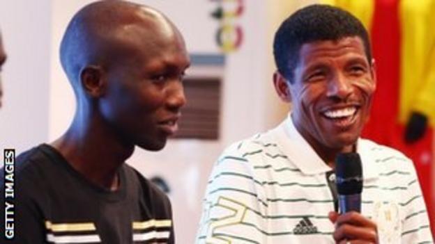 London Marathon winner Wilson Kipsang and Haile Gebrselassie