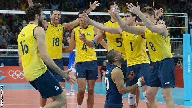 Brazil men's volleyball team celebrate