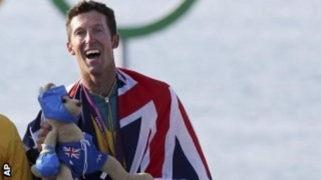 Sailor Malcolm Page celebrates winning 470 class gold at the London Olympics
