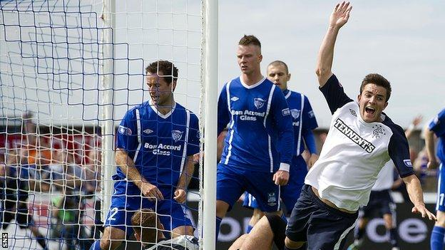 Andy Little celebrates after scoring for Rangers against Peterhead
