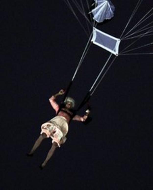 The 'Queen' parachutes into the Olympic Stadium