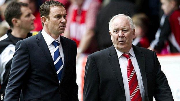 Derek Adams (left) with Aberdeen boss Craig Brown