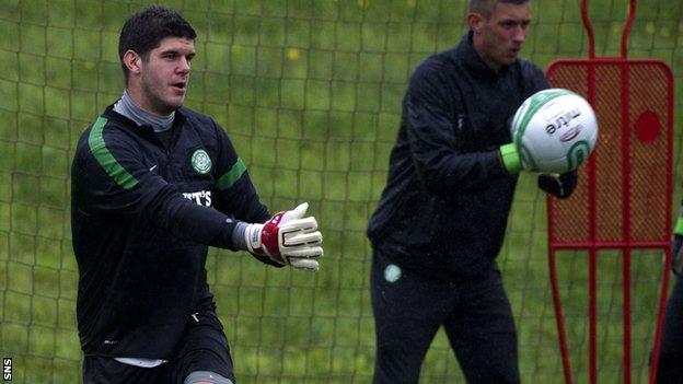 Celtic goalkeeper Fraser Forster at training on Friday