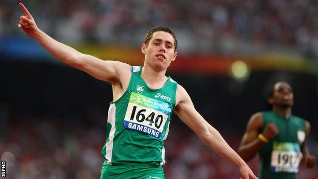 Jason Smyth after winning the T13 100m at the 2008 Paralympics in Beijing