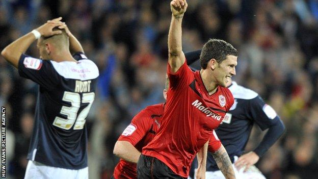 Mark Hudson celebrates Cardiff City's winner against Huddersfield