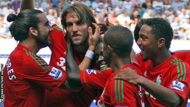 Swansea players celebrate