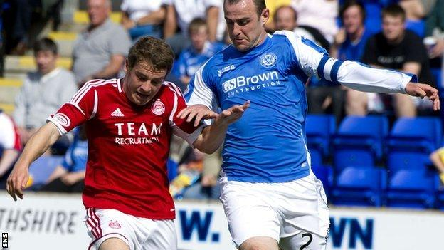 Fraser is challenged by St Johnstone defender Dave Mackay during the Dons' 2-1 win