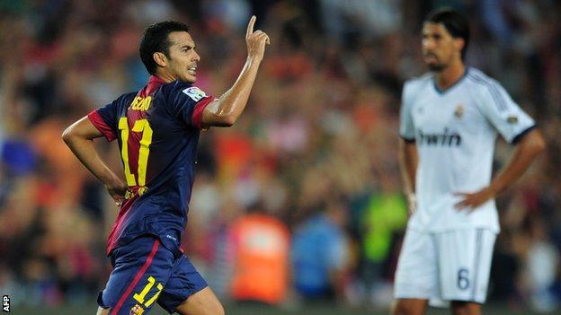 Pedro celebrates for Barcelona