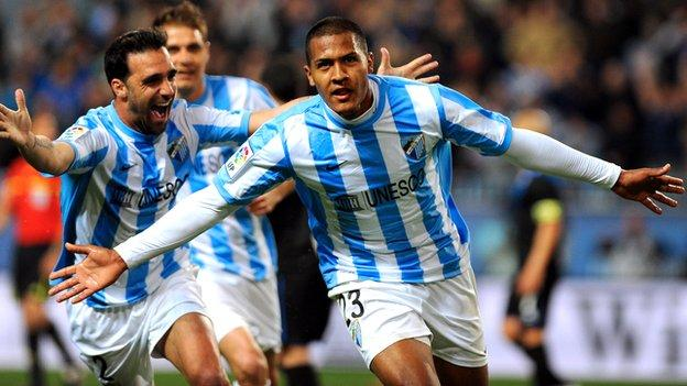 Salomon Rondon of Malaga celebrates