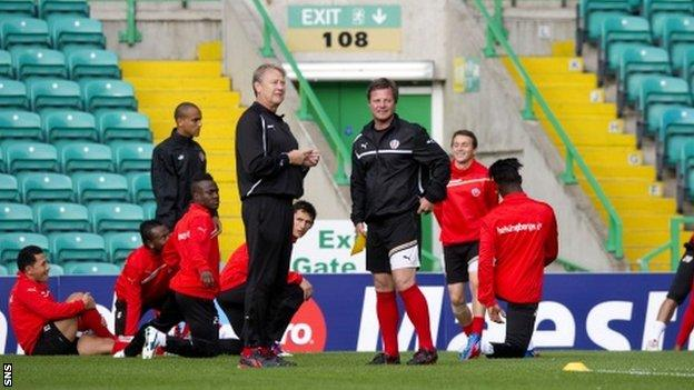 Age Hareide and his Helsingborgs squad train at Celtic Park