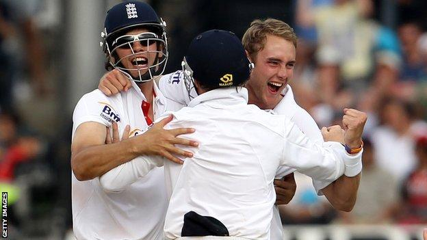 Alastair Cook, Stuart Broad and Matt Prior