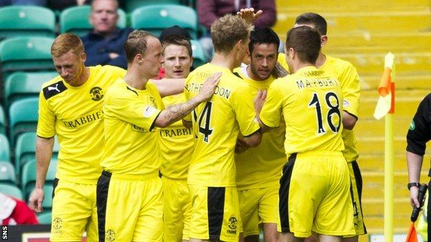 Hibernian celebrate Tim Clancy's goal at Celtic Park