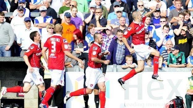 Nick Fenton celebrates his goal against Bristol Rovers