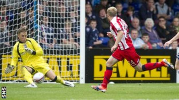 Kilmarnock's Rory McKenzie has a shot saved by Ross County goalkeeper Michael Fraser