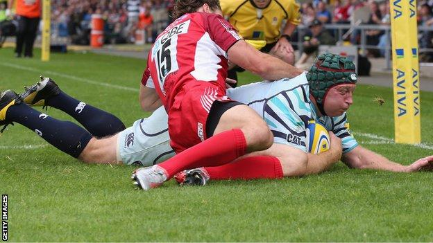 Thomas Waldrom goes over for Leicester's opening try