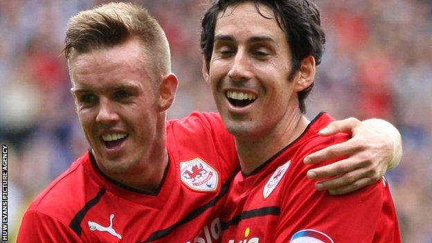 Peter Whittingham (right) celebrates with Cardiff City team-mate Craig Noone