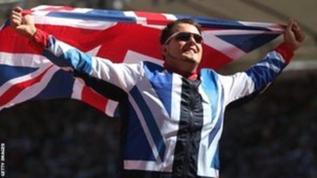 Aled Davies celebrates his shot put bronze medal