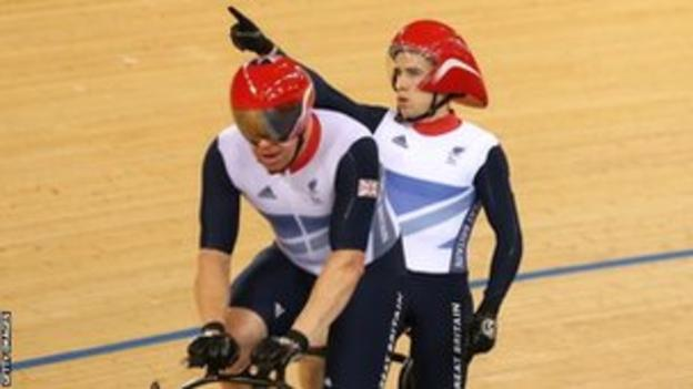 Barney Storey (left) and Neil Fachie celebrate gold
