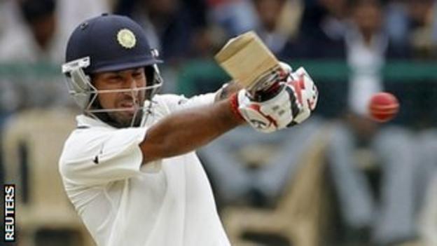 Chiteshwar Pujara batting in India's second test against New Zealand