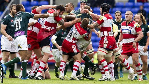 London Irish and Gloucester players brawl