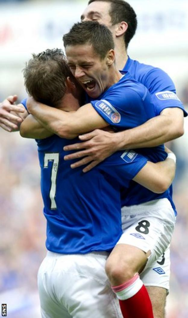Ian Black celebrates with Rangers after his summer switch to Ibrox