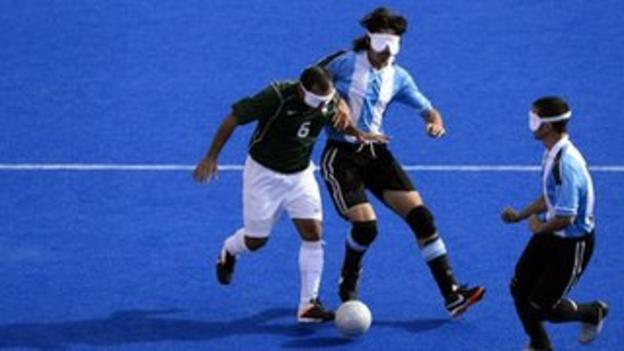 Brazil and Argentina play blind football