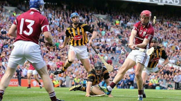Galway's Joe Canning scores the opening goal in the All-Ireland hurling final against Galway