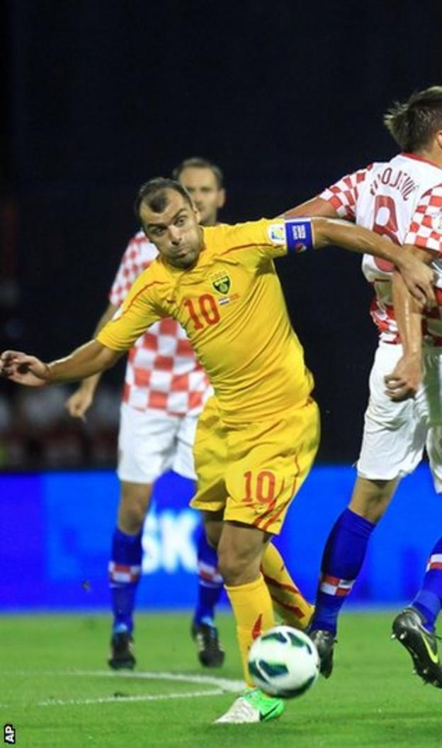 Macedonia's Goran Pandev in action against Croatia