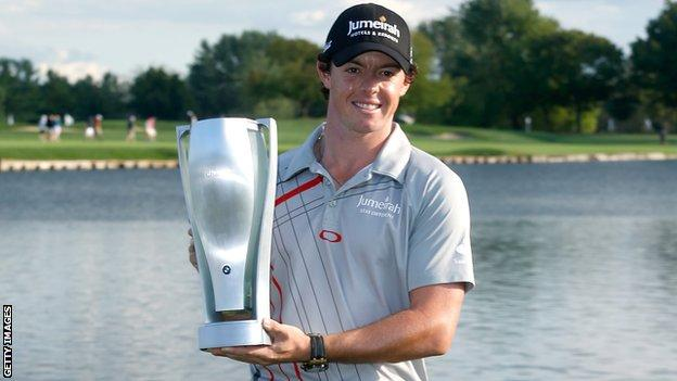 Rory McIlroy holds his latest trophy after his BMW Championship win at Crooked Stick on Sunday