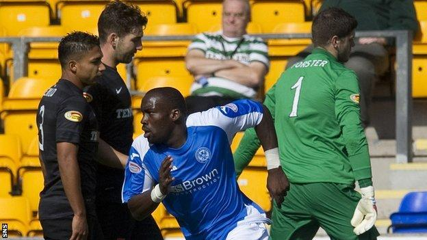 Gregory Tade celebrates scoring against Celtic