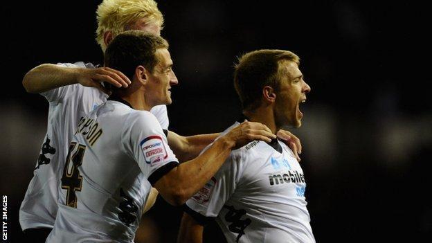 Jamie Ward (right) celebrates scoring for Derby