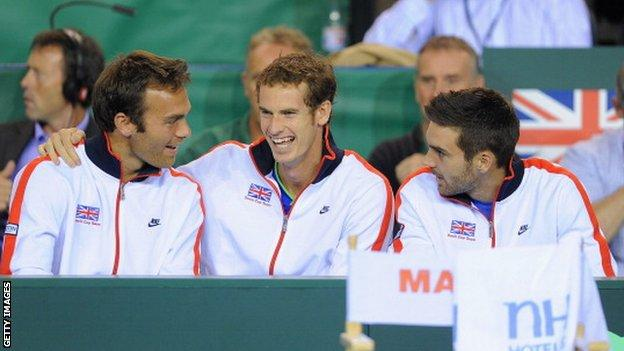 Great Britain's Davis Cup team (left to right) Ross Hutchins, Andy Murray and Colin Fleming