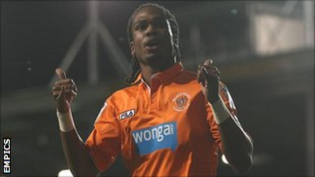 Blackpool striker Nathan Delfouneso