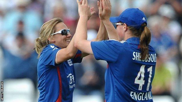 Laura Marsh and Anya Shrubsole celebrate a wicket