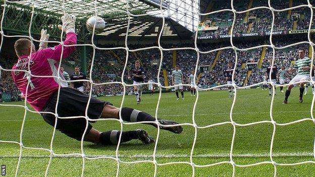Rab Douglas saved a penalty from Celtic skipper Scott Brown