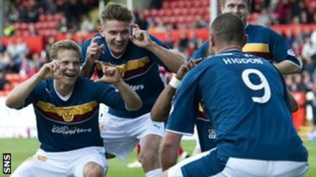 Motherwell enjoy the game at Pittodrie after Higdon's equaliser