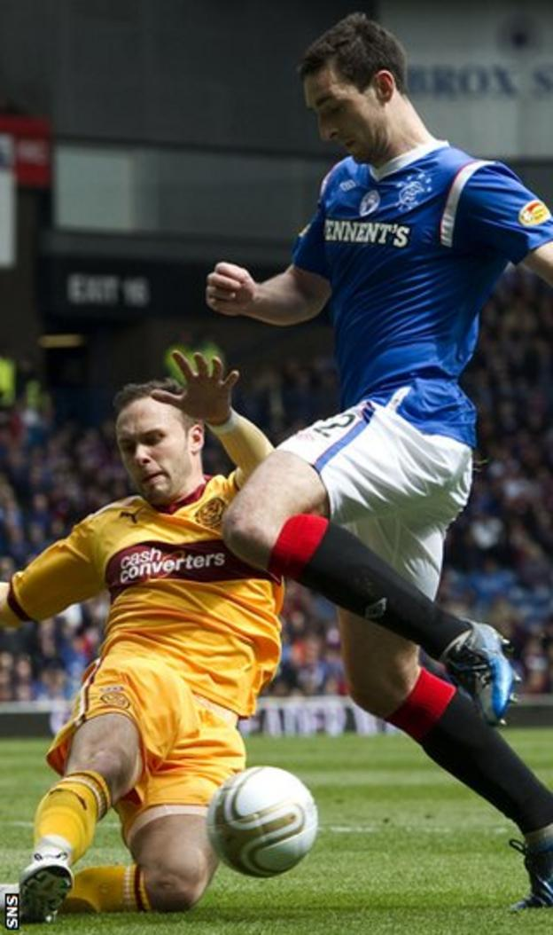 Motherwell's Tom Hateley tackles Rangers' Lee Wallace during May's 0-0 draw