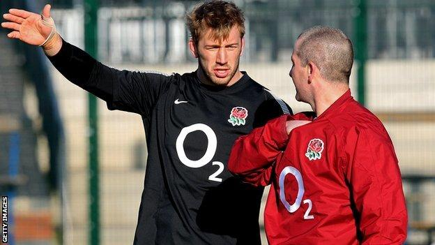 Chris Robshaw with Stuart Lancaster