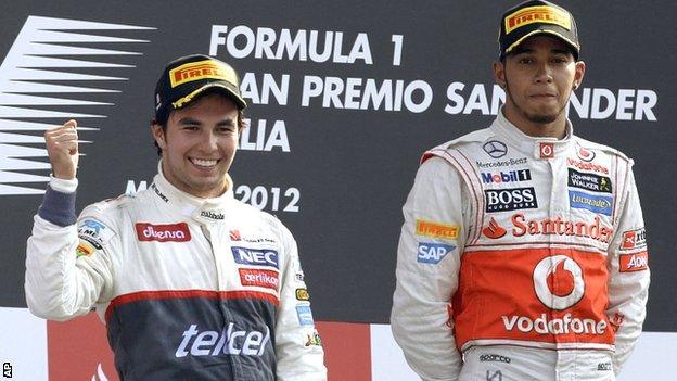 Sergio Perez and Lewis Hamilton
