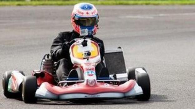 Jenson Button goes back to basics in a kart in Japan