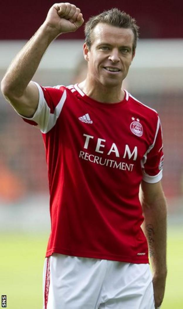 Rae is subdued in his celebration after his goal brings Aberdeen victory
