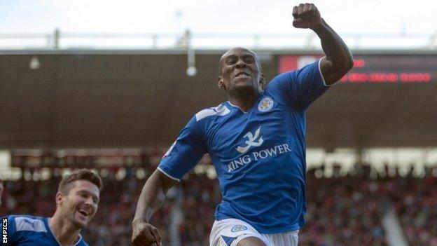 Leicester striker Lloyd Dyer celebrates after scoring his side's late winner.