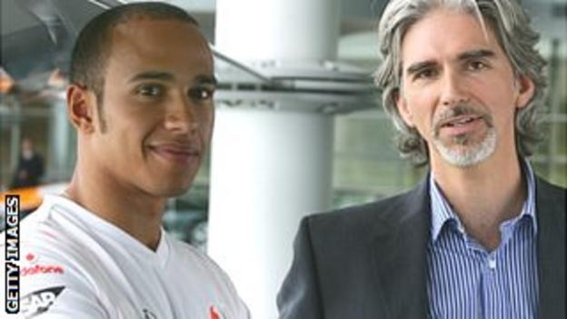 McLaren driver Lewis Hamilton and former champion Damon Hill