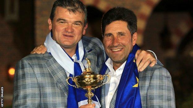 Paul Lawrie and Europe's Ryder Cup-winning captain Jose Maria Olazabal